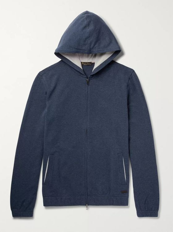 Loro Piana Mélange Stretch-Cotton Jersey Zip-Up Hoodie