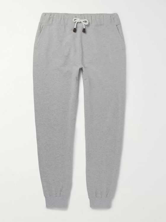 LORO PIANA Slim-Fit Tapered Mélange Stretch-Cotton Jersey Sweatpants