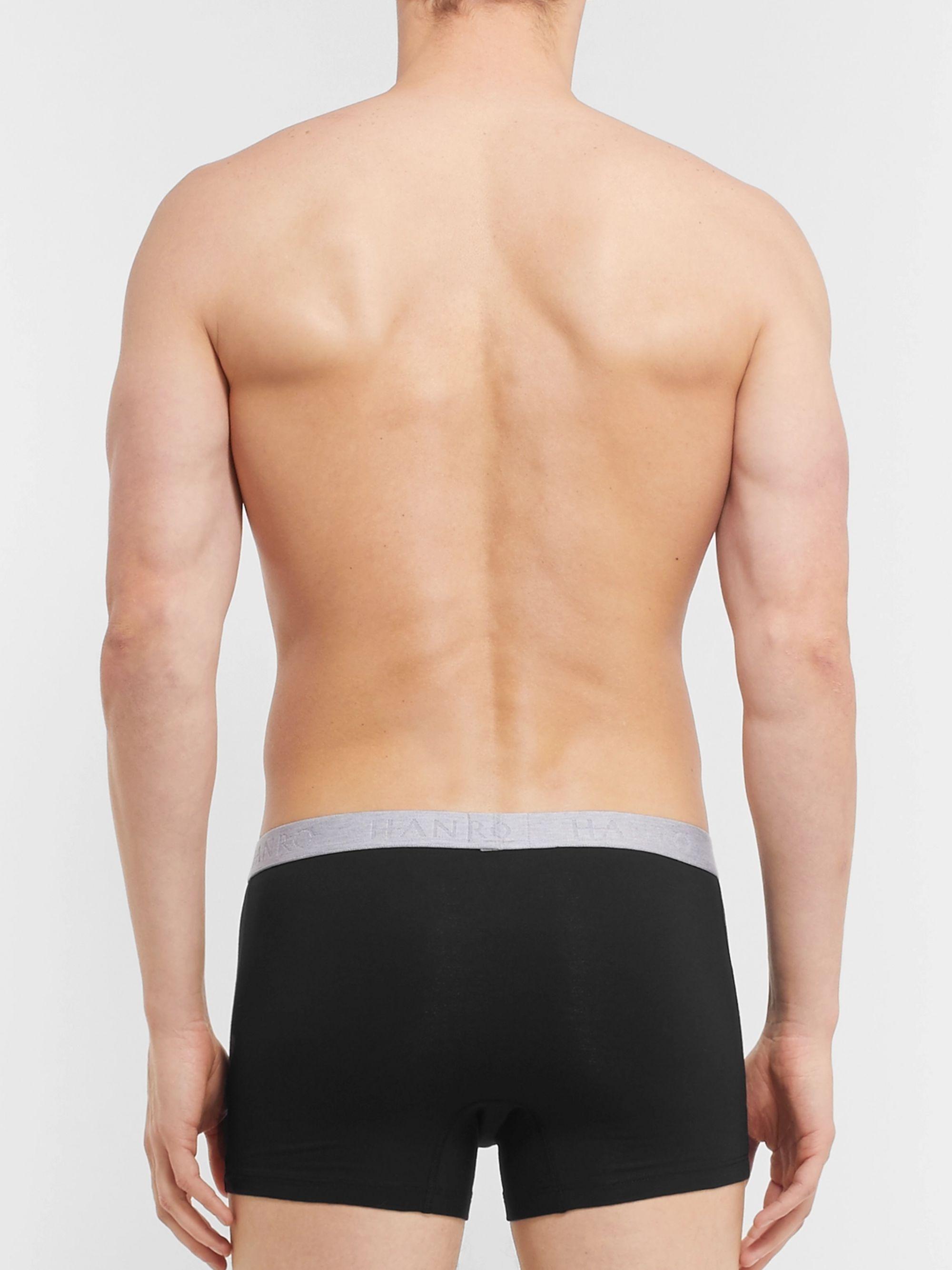 Black Two-pack Stretch-cotton Boxer Briefs | Hanro