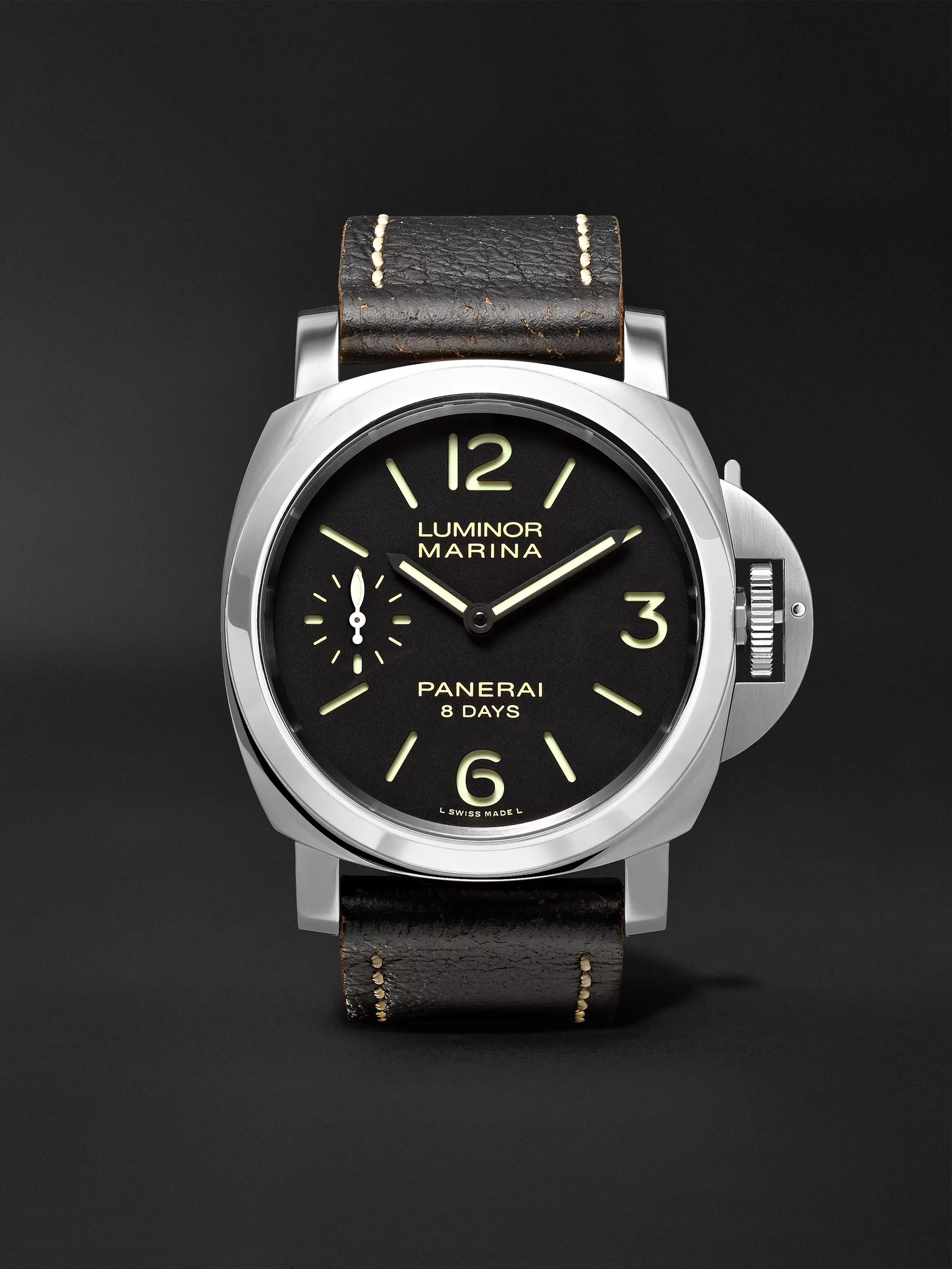 Panerai Luminor Marina 8 Days Acciaio 44mm Stainless Steel and Leather Watch