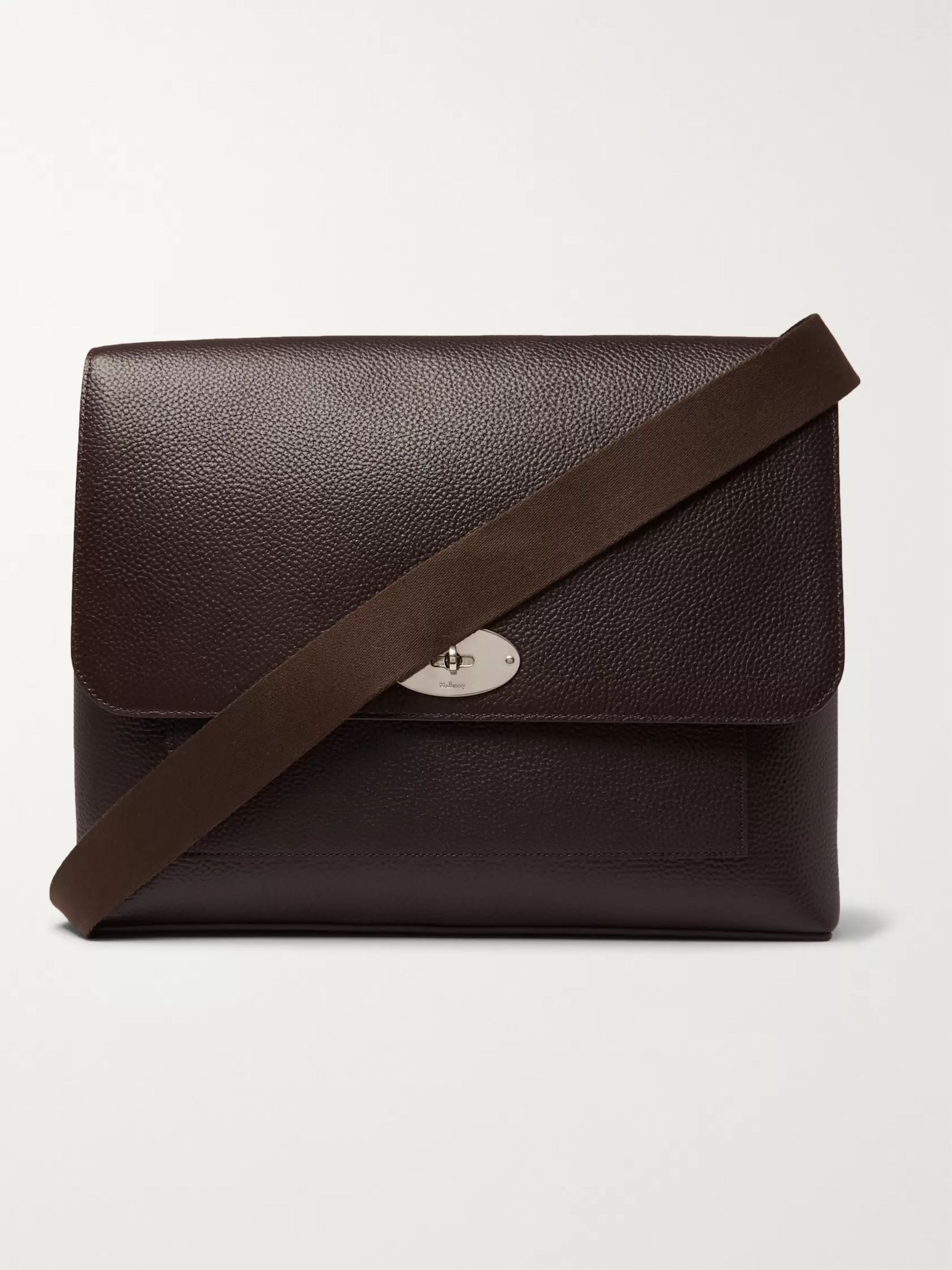 Mulberry East West Antony Padlock Pebble-Grain Leather Messenger Bag