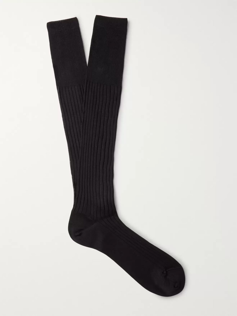Ermenegildo Zegna Ribbed Cotton Over-the-Calf Socks