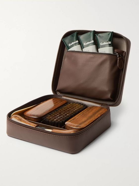 Lorenzi Milano Travel Shoe Care Set with Leather Case