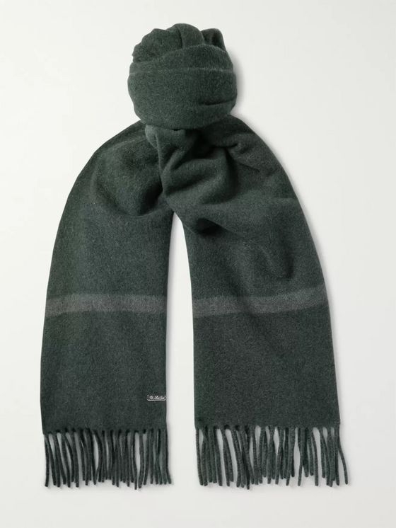 LORO PIANA Fringed Striped Baby Cashmere Scarf