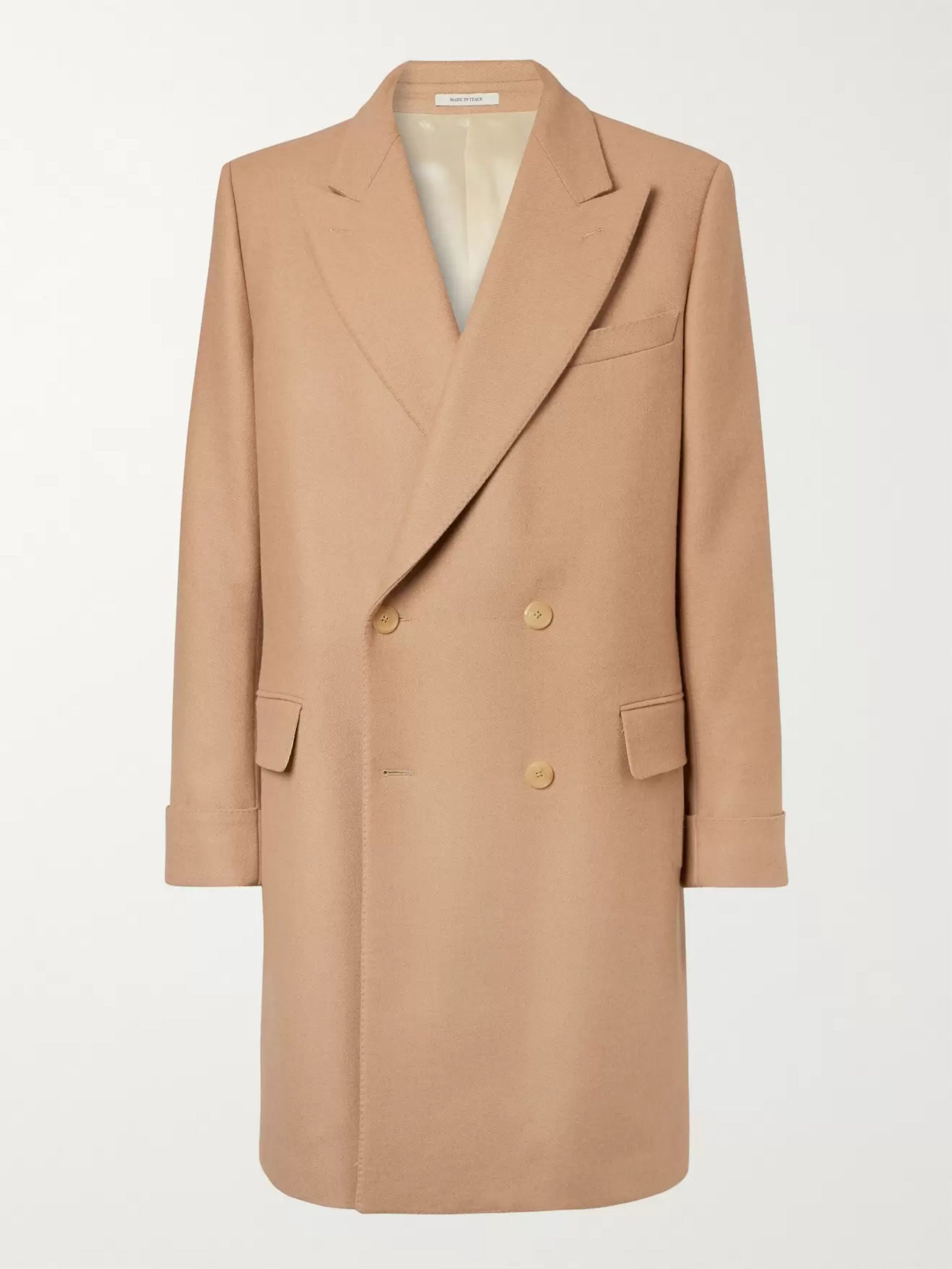 Husbands Double-Breasted Virgin Wool and Camel Hair-Blend Overcoat