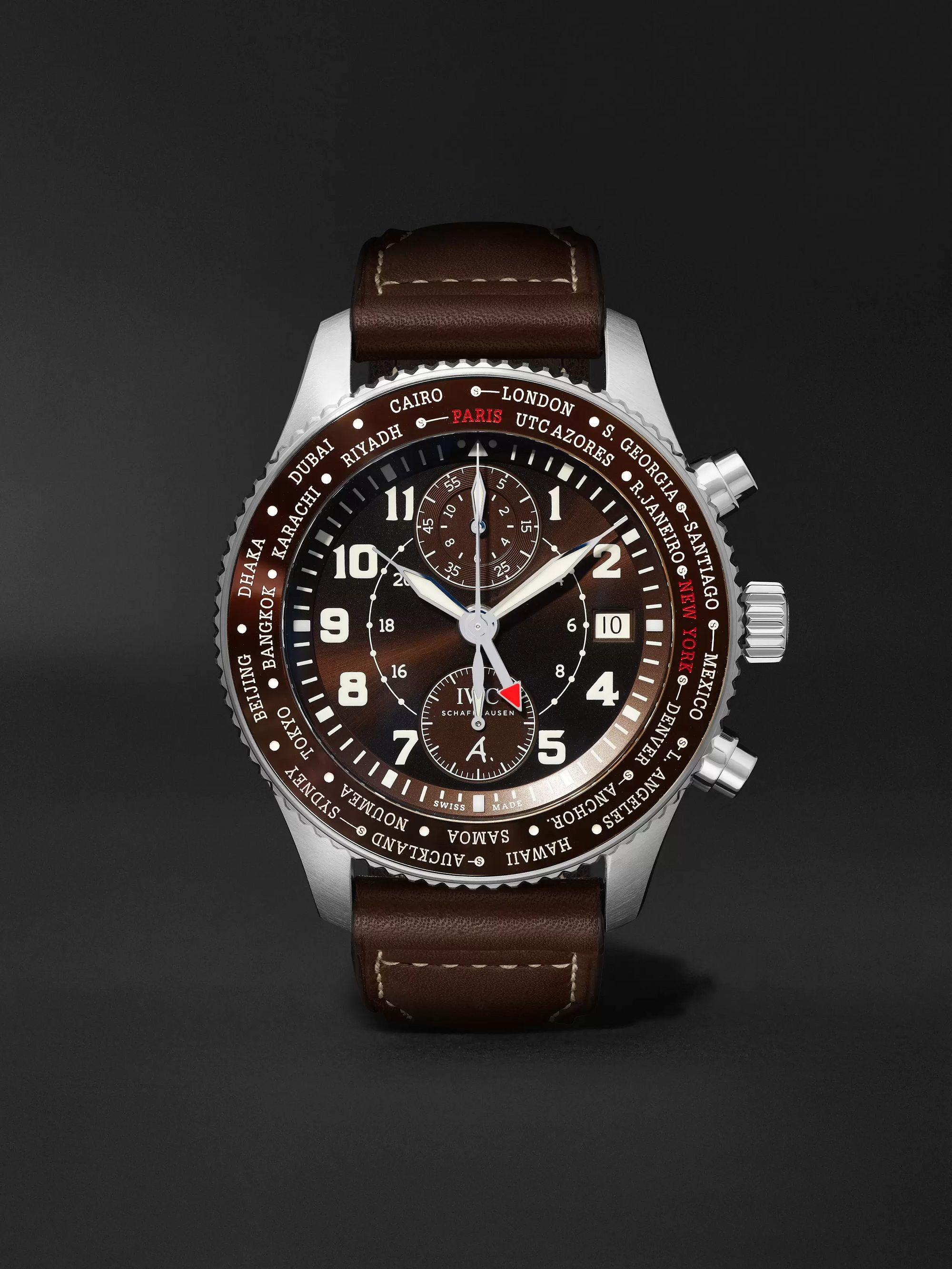 IWC SCHAFFHAUSEN Pilot's Timezoner Limited Edition Chronograph 46mm Stainless Steel and Leather Watch, Ref. No. IW395003