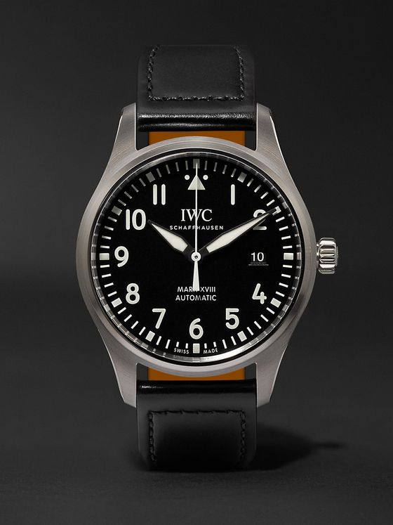 IWC SCHAFFHAUSEN Pilot's Mark XVIII 40mm Stainless Steel and Leather Watch, Ref. No. IW327009