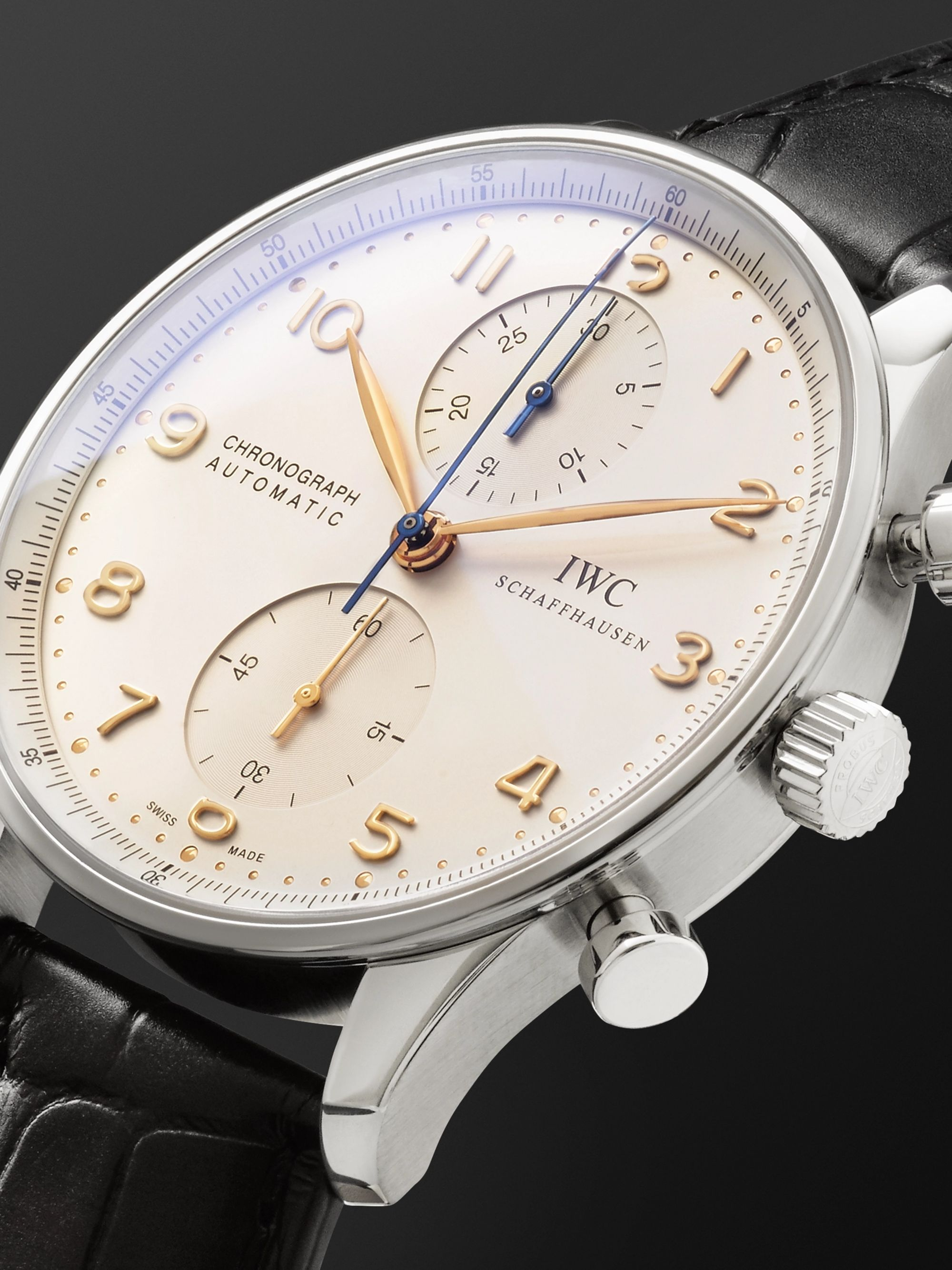 IWC SCHAFFHAUSEN Portugieser Automatic Chronograph 40.9mm Stainless Steel and Alligator Watch, Ref. No. IW371445