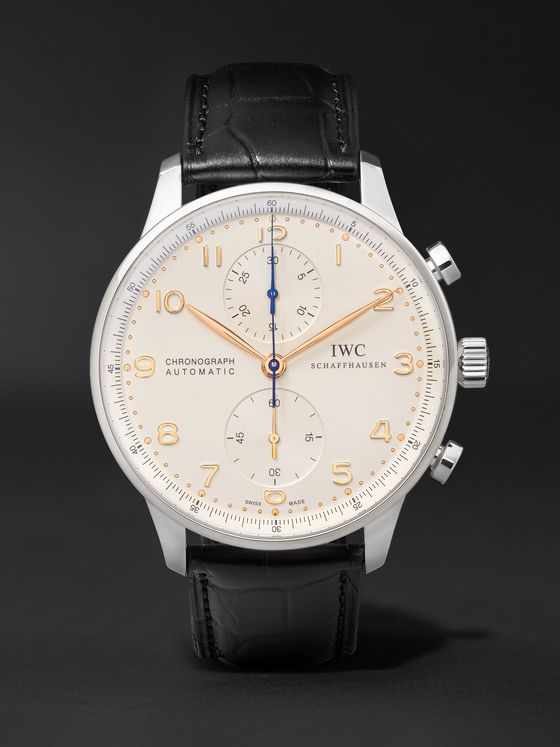 IWC SCHAFFHAUSEN Portugieser Chronograph 40.9mm Stainless Steel and Alligator Watch, Ref. No. IW371445