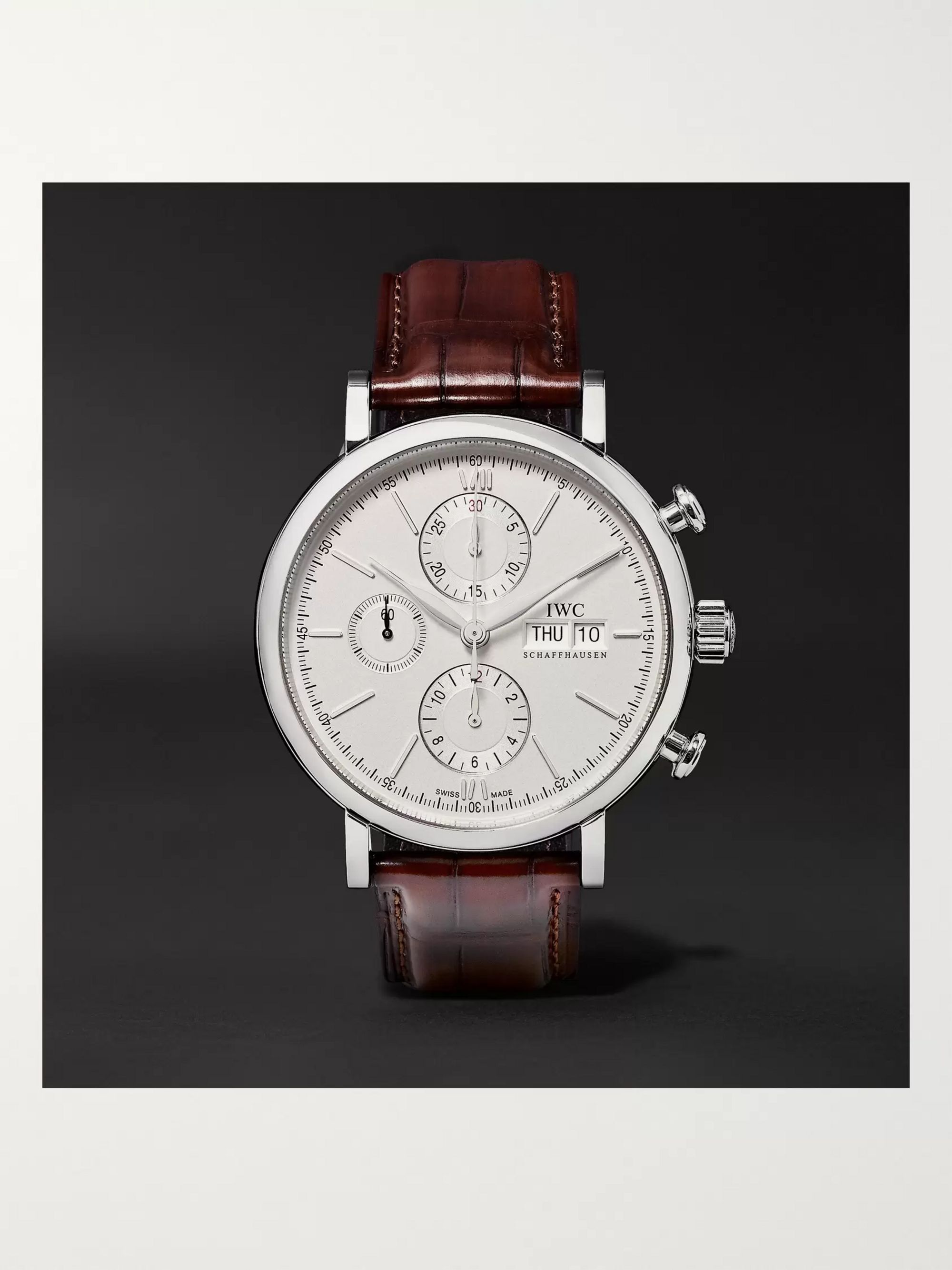 info for 424e3 ca3c0 Portofino Chronograph 42mm Stainless Steel and Alligator Watch, Ref. No.  IW391007