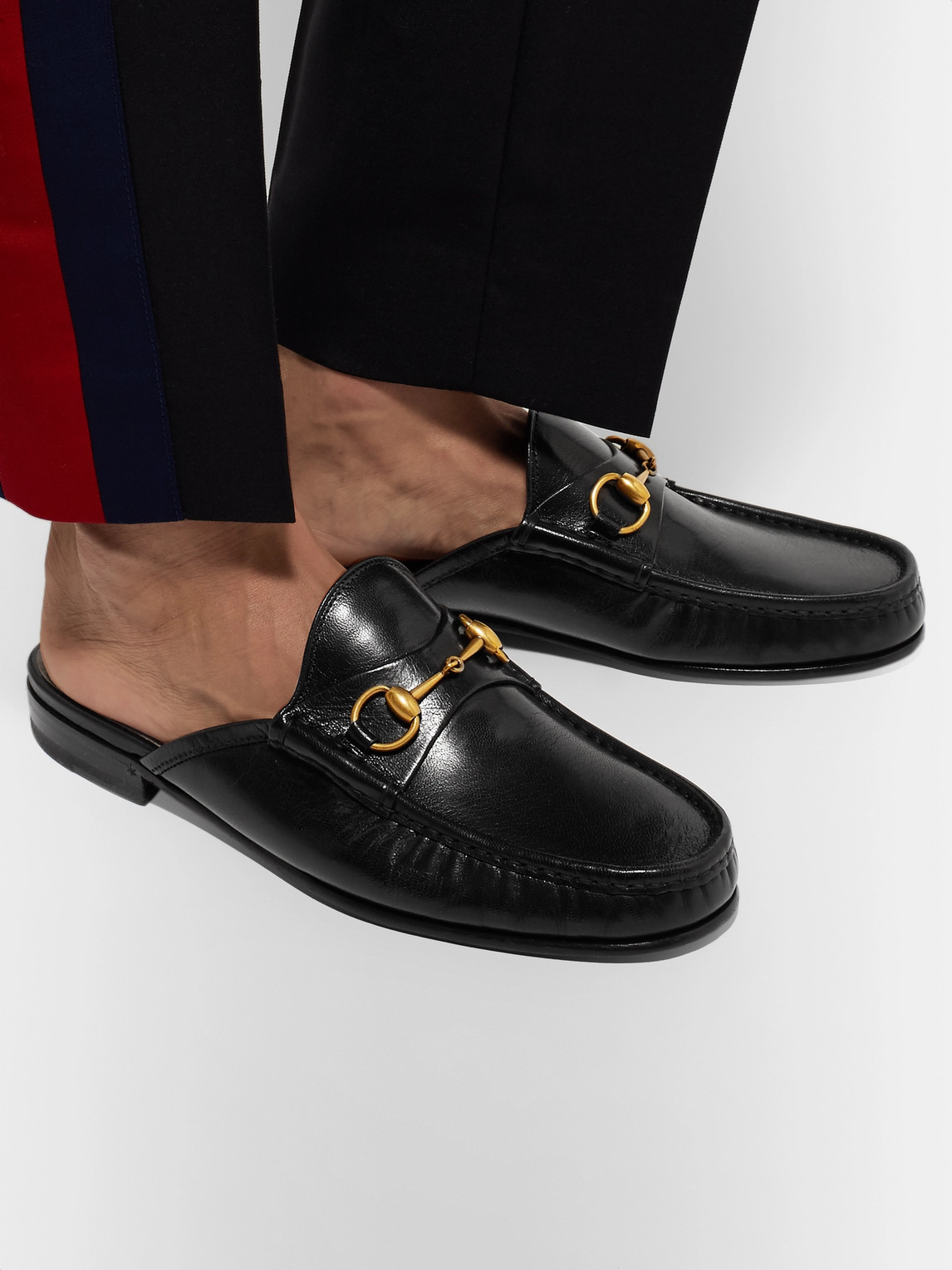 Gucci Sandals OPEN ROOS HORSEBIT LEATHER BACKLESS LOAFERS