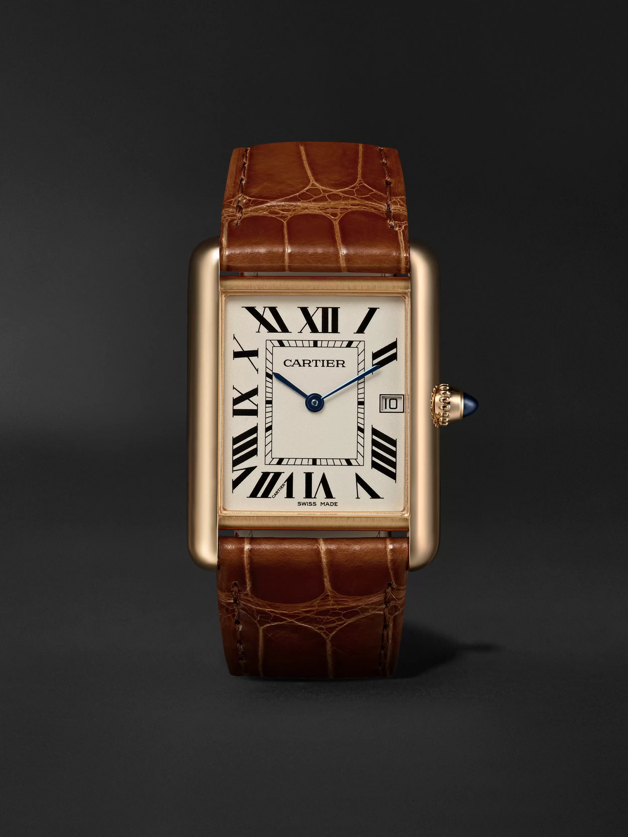 Cartier Tank Louis Cartier 34mm 18-Karat Gold and Alligator Watch