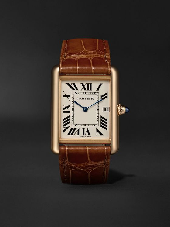 Cartier Tank Louis Cartier 34mm 18-Karat Gold and Alligator Watch, Ref. No. CRW1529756