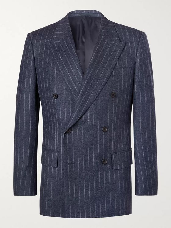 Kingsman Blue Double-Breasted Pinstriped Wool Suit Jacket