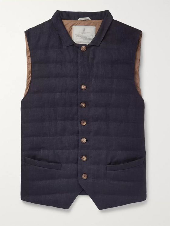 Brunello Cucinelli Slim-Fit Quilted Linen Down Gilet