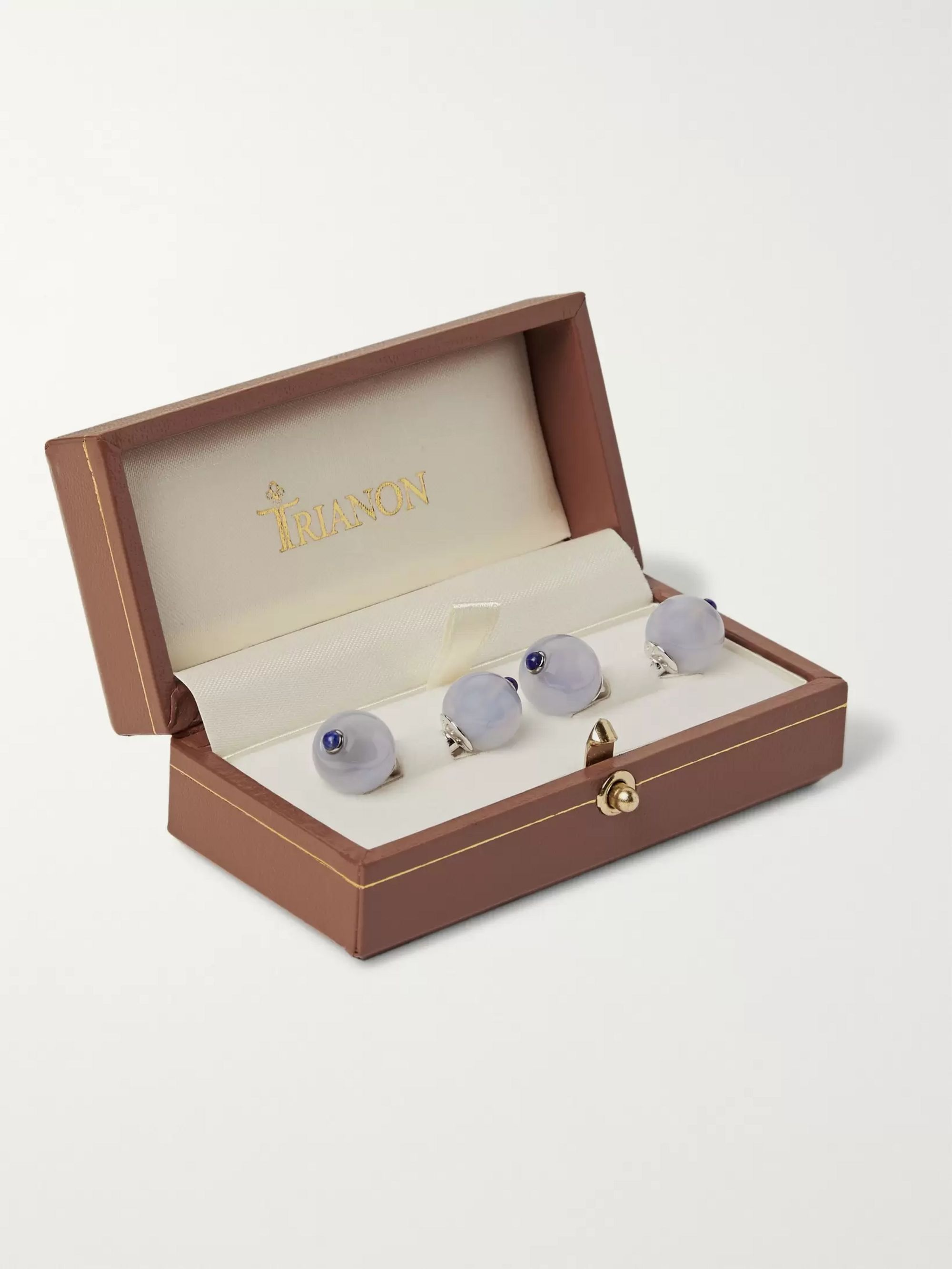 Trianon 18-Karat White Gold, Chalcedony and Lapis Cufflinks