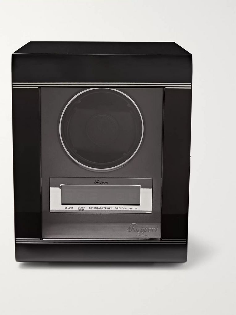 Rapport London Lacquered Ebony and Glass Watch Winder