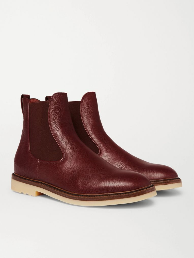 Loro Piana Winter Beatle Walk Full-Grain Leather Chelsea Boots