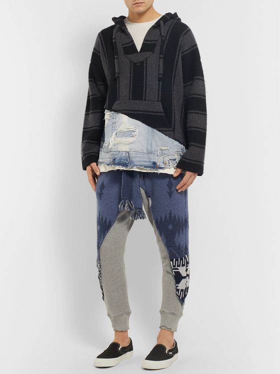 Alanui + Greg Lauren Panelled Cashmere-Intarsia and Denim Hoodie