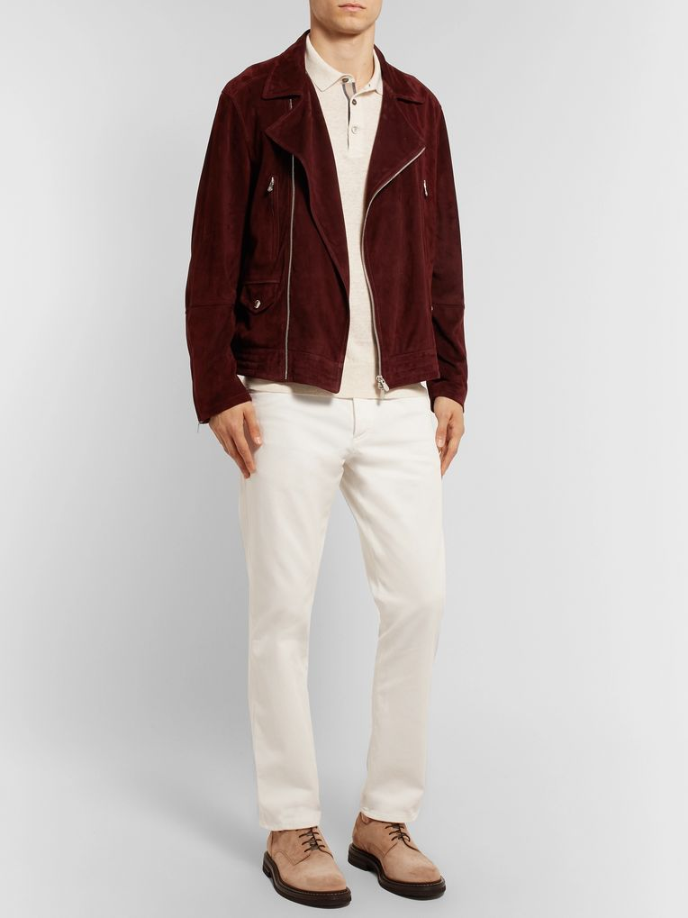 Brunello Cucinelli Grosgrain-Trimmed Knitted Mélange Linen and Cotton-Blend Polo Shirt