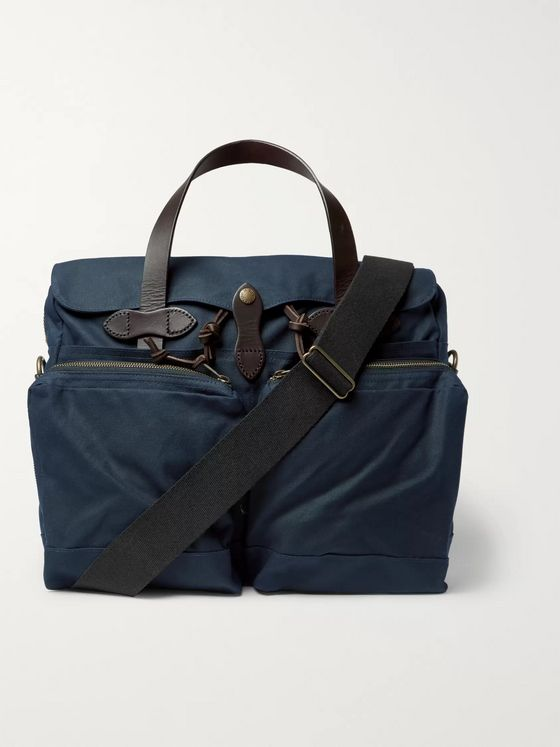 Filson Leather-Trimmed Waxed Cotton-Canvas Briefcase