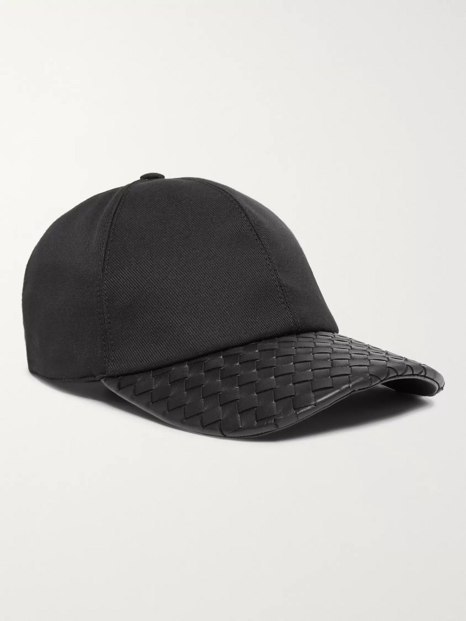 Bottega Veneta Cotton-Blend Twill and Intrecciato Leather Baseball Cap