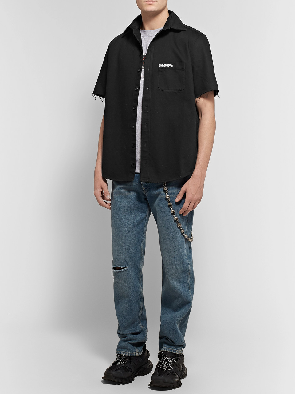 Vetements Embroidered Distressed Denim Shirt