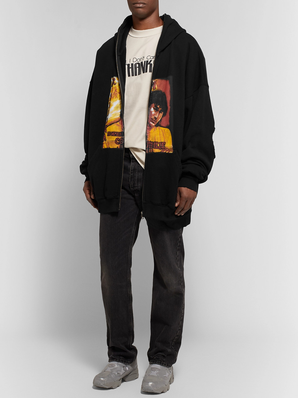 Vetements Oversized Distressed Printed Fleece-Back Cotton-Jersey Zip-Up Hoodie