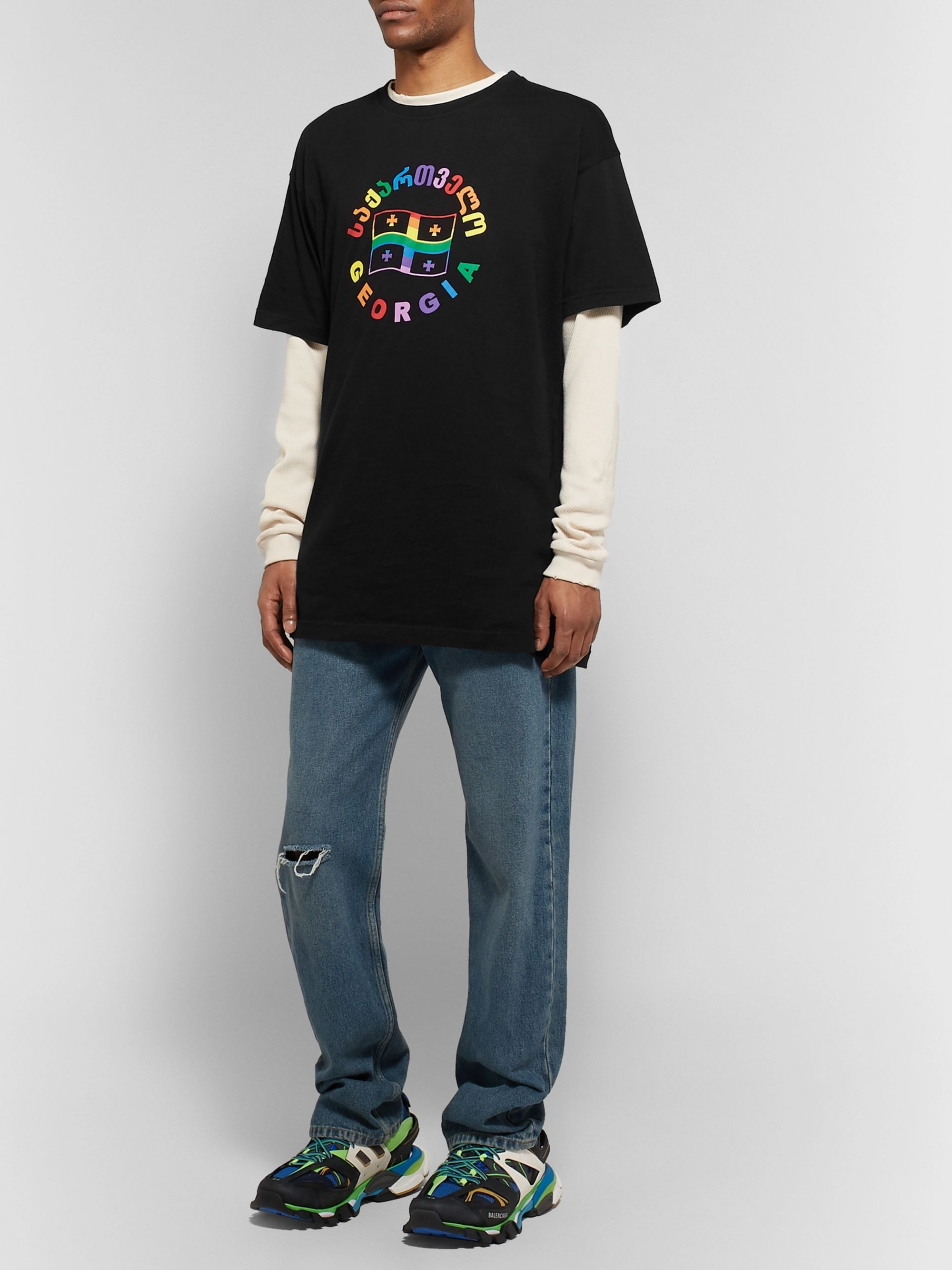 VETEMENTS Oversized Printed Cotton-Jersey T-Shirt