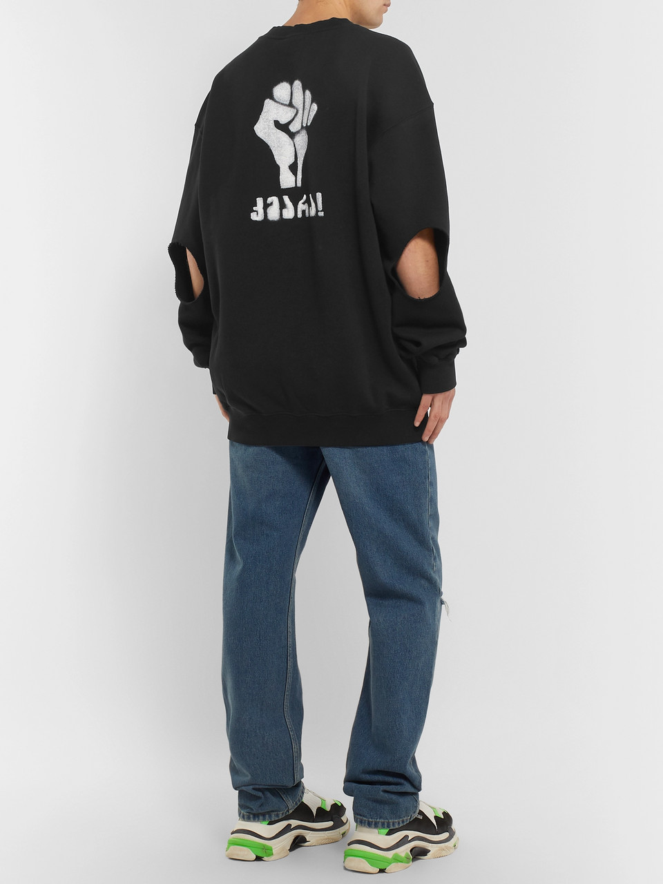 Vetements Oversized Printed Fleece-Back Cotton-Jersey Sweatshirt