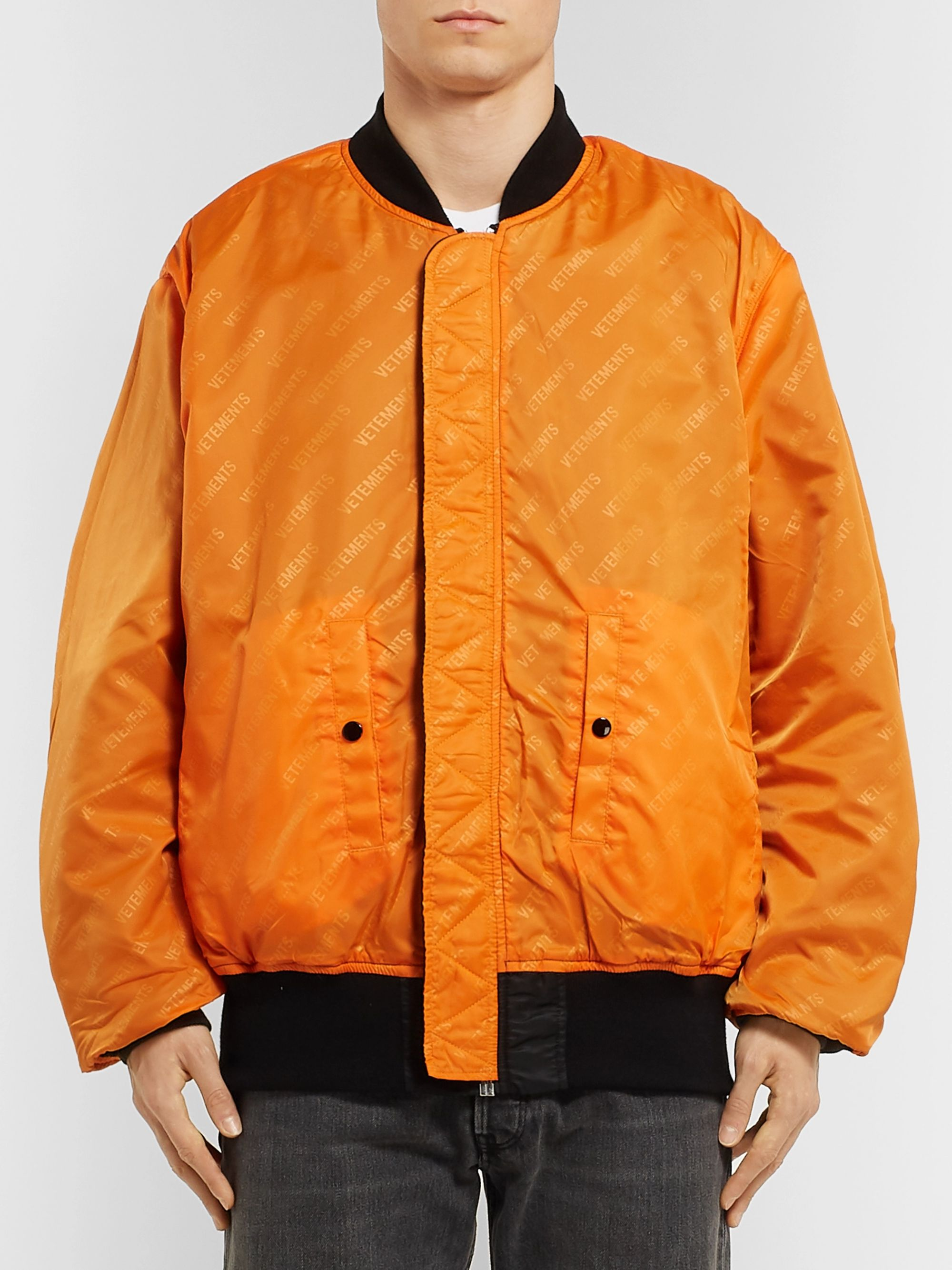 Vetements + Alpha Industries Oversized Reversible Printed Shell Bomber Jacket