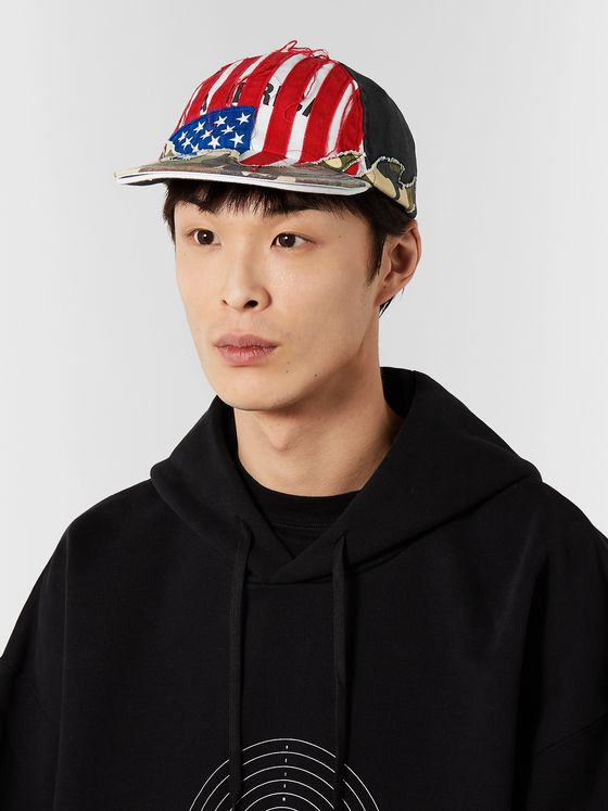 Vetements + Reebok Distressed Panelled Cotton-Twill Baseball Cap