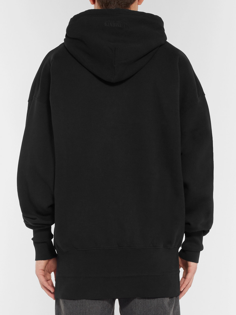 Vetements Oversized Embroidered Fleece-Back Cotton-Jersey Hoodie
