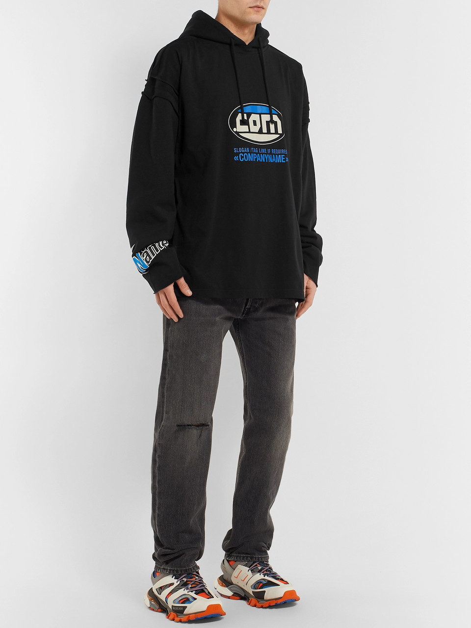 Vetements Oversized Printed Fleece-Back Cotton-Jersey Hoodie