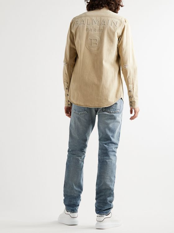 Balmain Logo-Embossed Distressed Denim Western Shirt