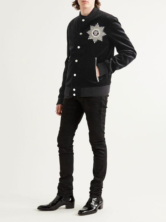 Balmain Crystal-Embellished Cotton-Velvet Bomber Jacket