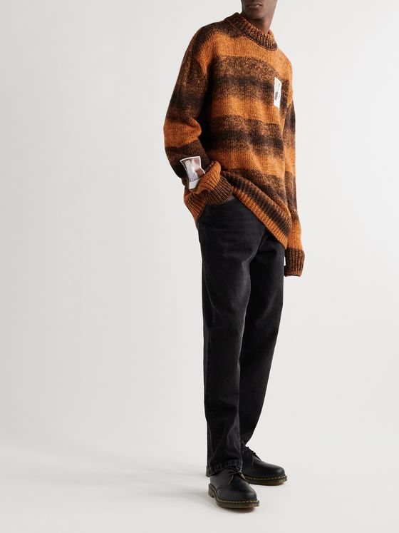 Raf Simons Oversized Appliquéd Striped Knitted Sweater