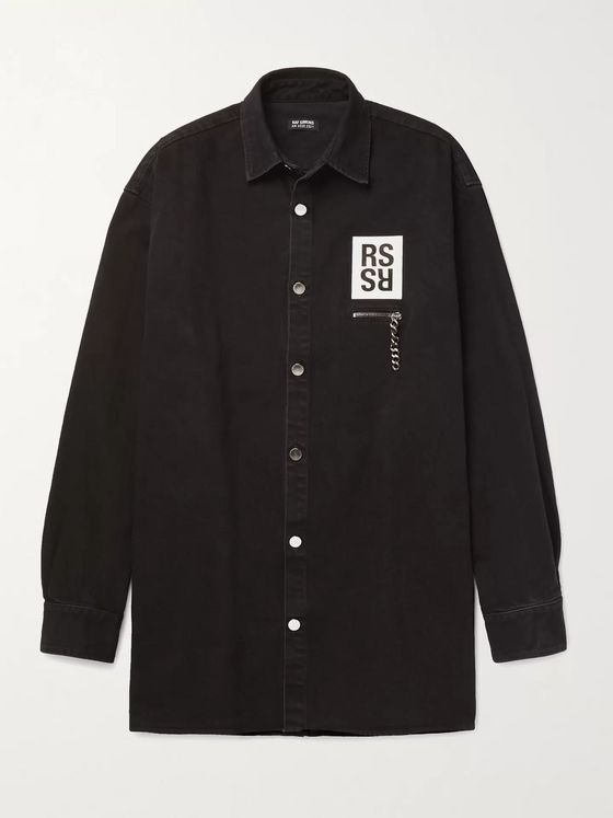 Raf Simons Appliquéd Printed Denim Shirt