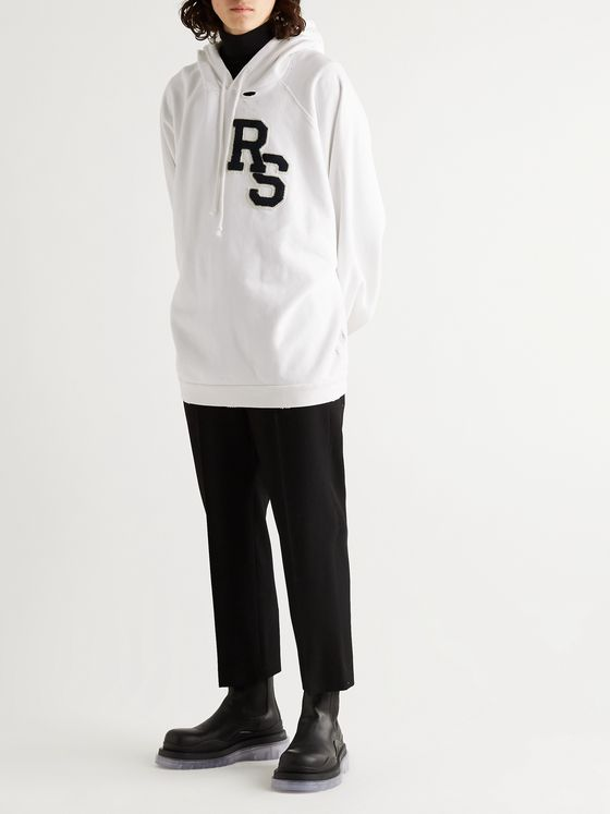 Raf Simons Oversized Logo-Appliquéd Distressed Fleece-Back Cotton-Jersey Hoodie