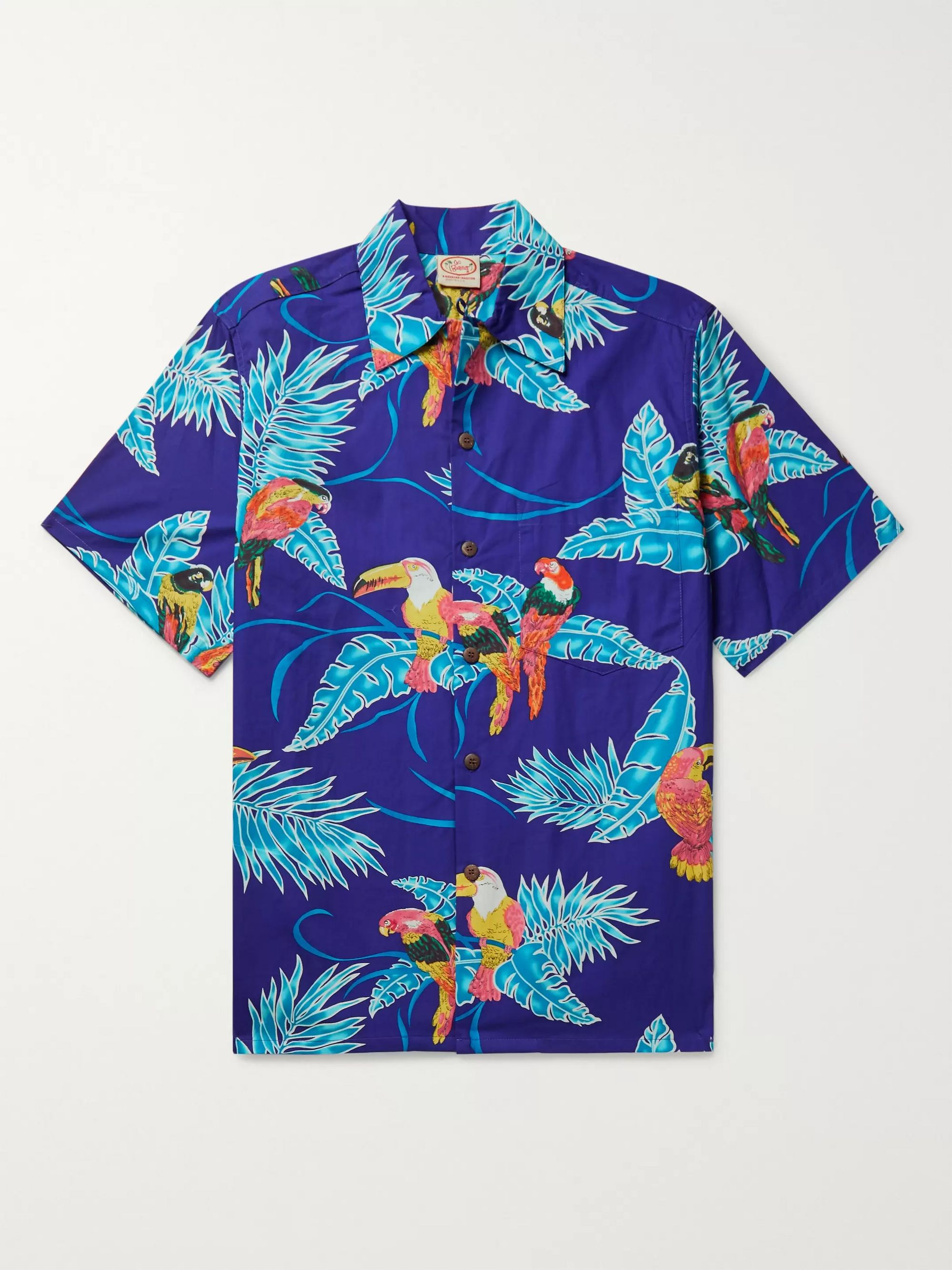 Go Barefoot Tropical Birds Printed Cotton Shirt
