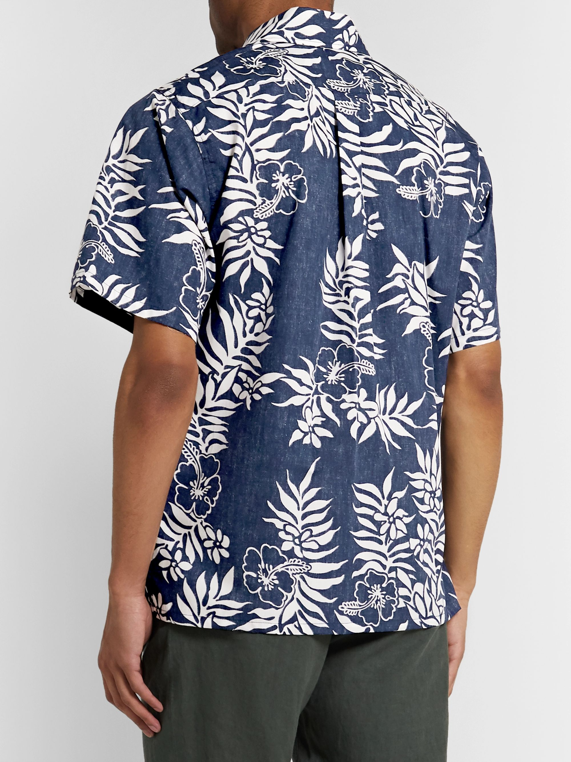 Go Barefoot Tahitian Leaf Printed Cotton Shirt