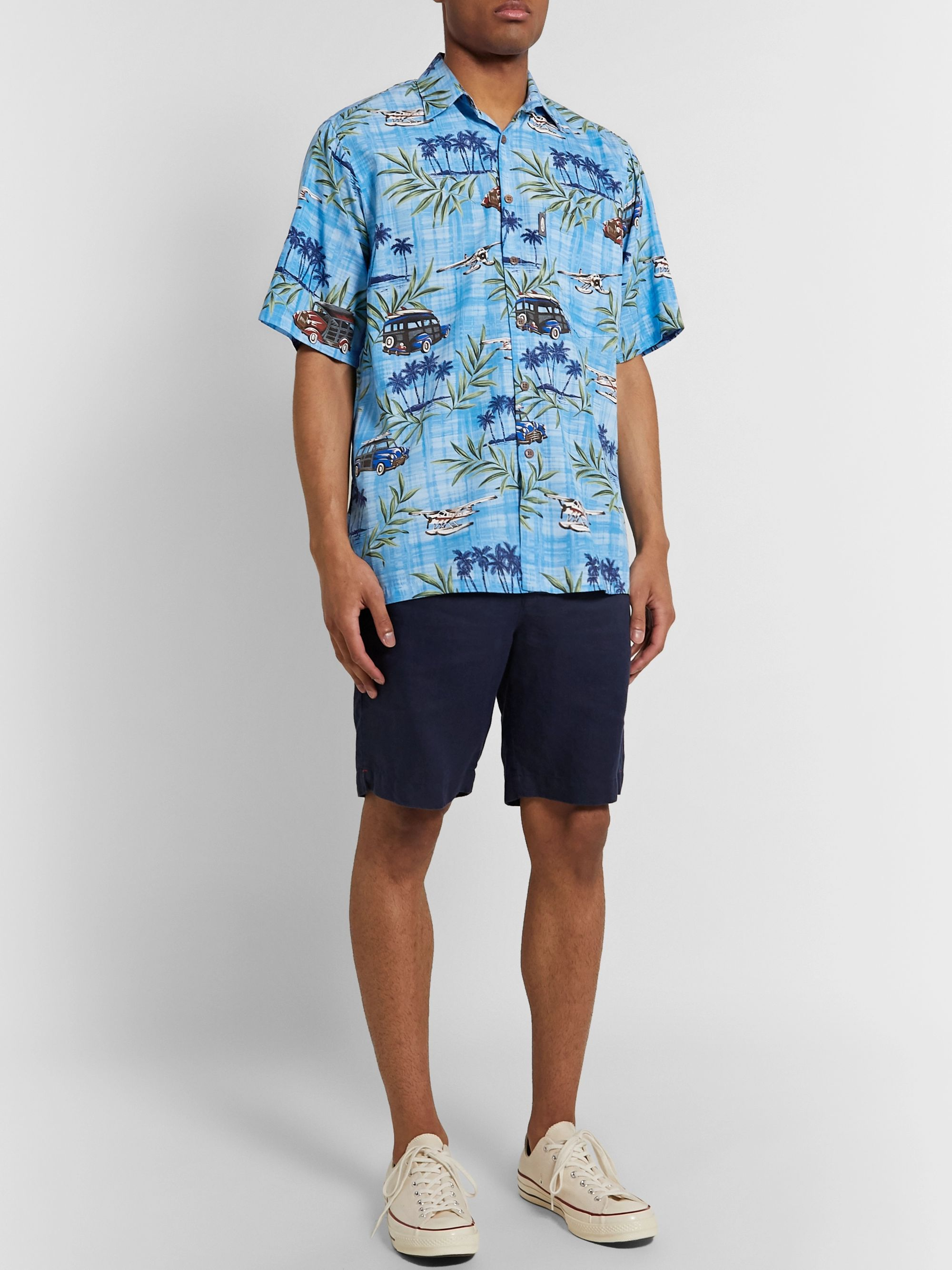 Go Barefoot Sea Plane Printed Cotton-Blend Shirt