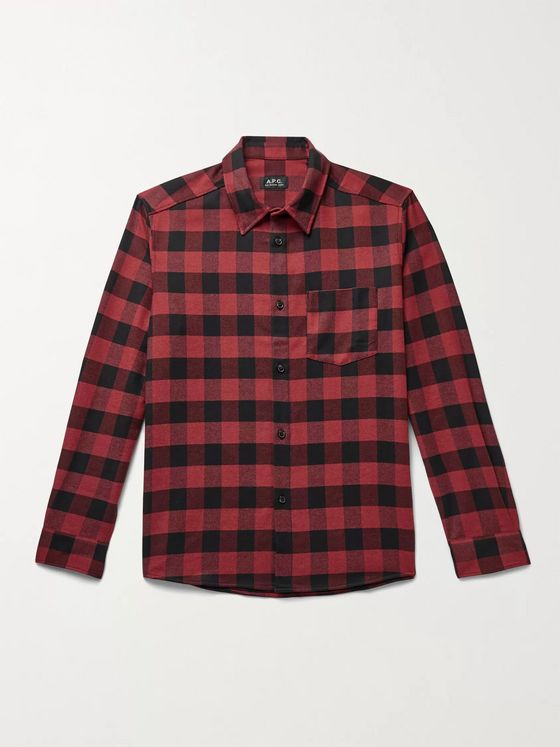 A.P.C. John Buffalo-Checked Twill Shirt
