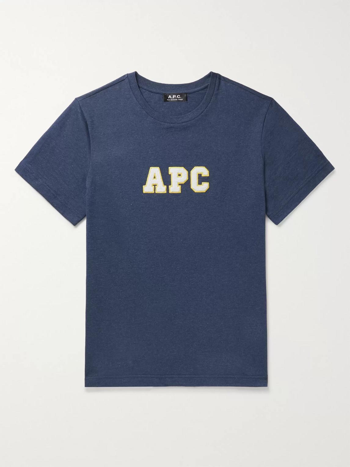 a.p.c. - gael logo-appliquéd cotton-jersey t-shirt - men - blue