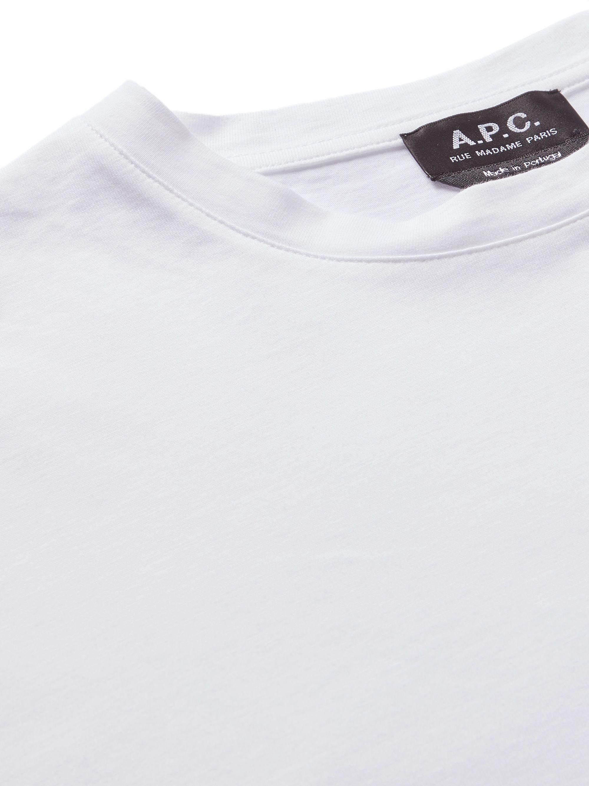 White Printed Cotton-jersey T-shirt | A.p.c.