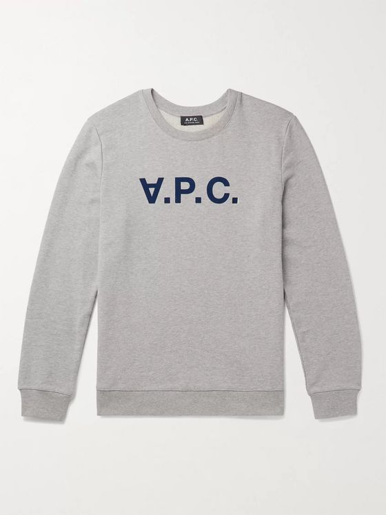 A.P.C. Logo-Flocked Mélange Loopback Cotton-Jersey Sweatshirt