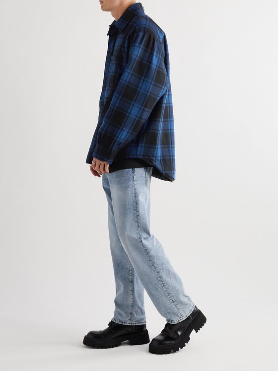 VETEMENTS Padded Checked Virgin Wool-Blend Flannel Overshirt