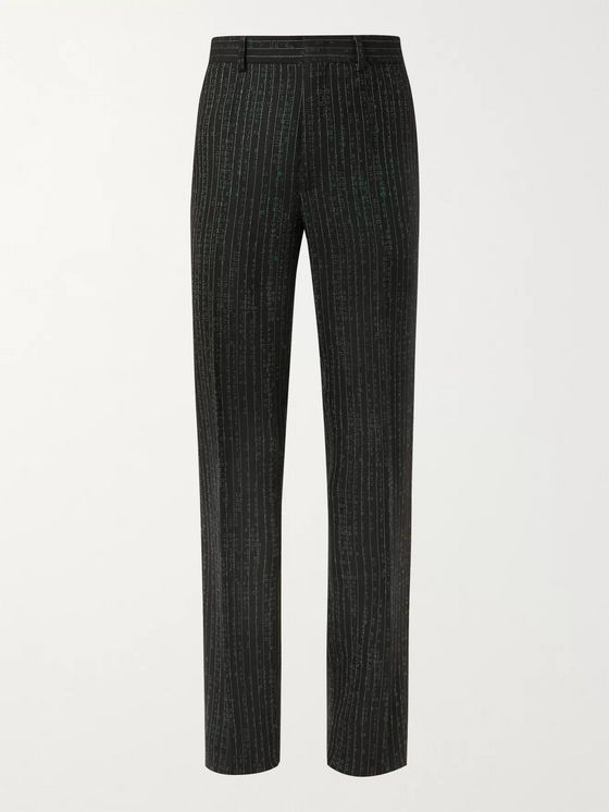 Vetements Printed Pinstriped Virgin Wool-Blend Jersey Trousers