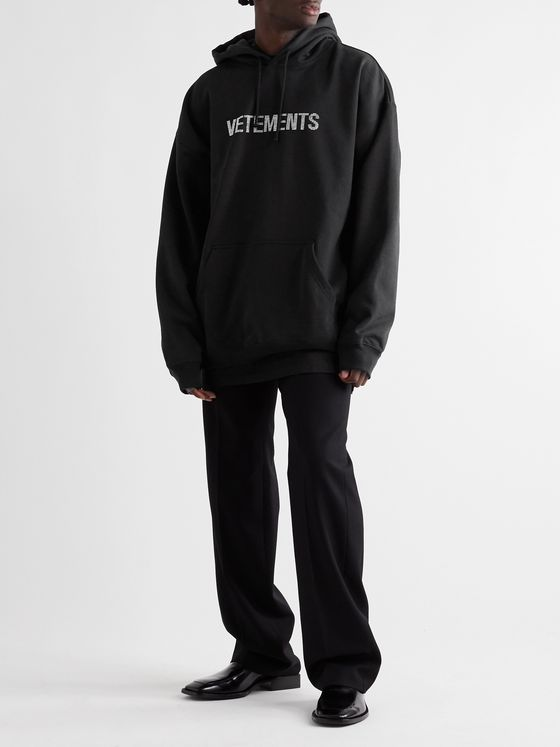 Vetements Oversized Logo-Embellished Loopback Cotton-Blend Jersey Hoodie