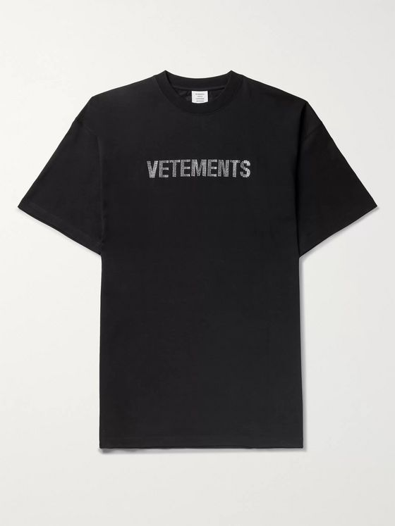 Vetements Oversized Crystal-Embellished Cotton-Jersey T-Shirt